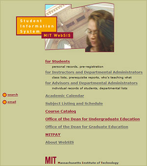 Screenshot of MIT WebSIS (Student Information System) homepage